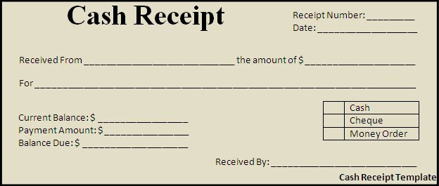 Cash Receipt Template Best Word Templates