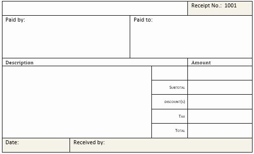Cash Receipt Templates for Ms Word & Excel