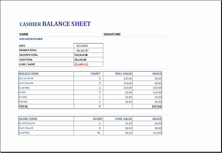 Cashier Balance Sheet Template for Excel