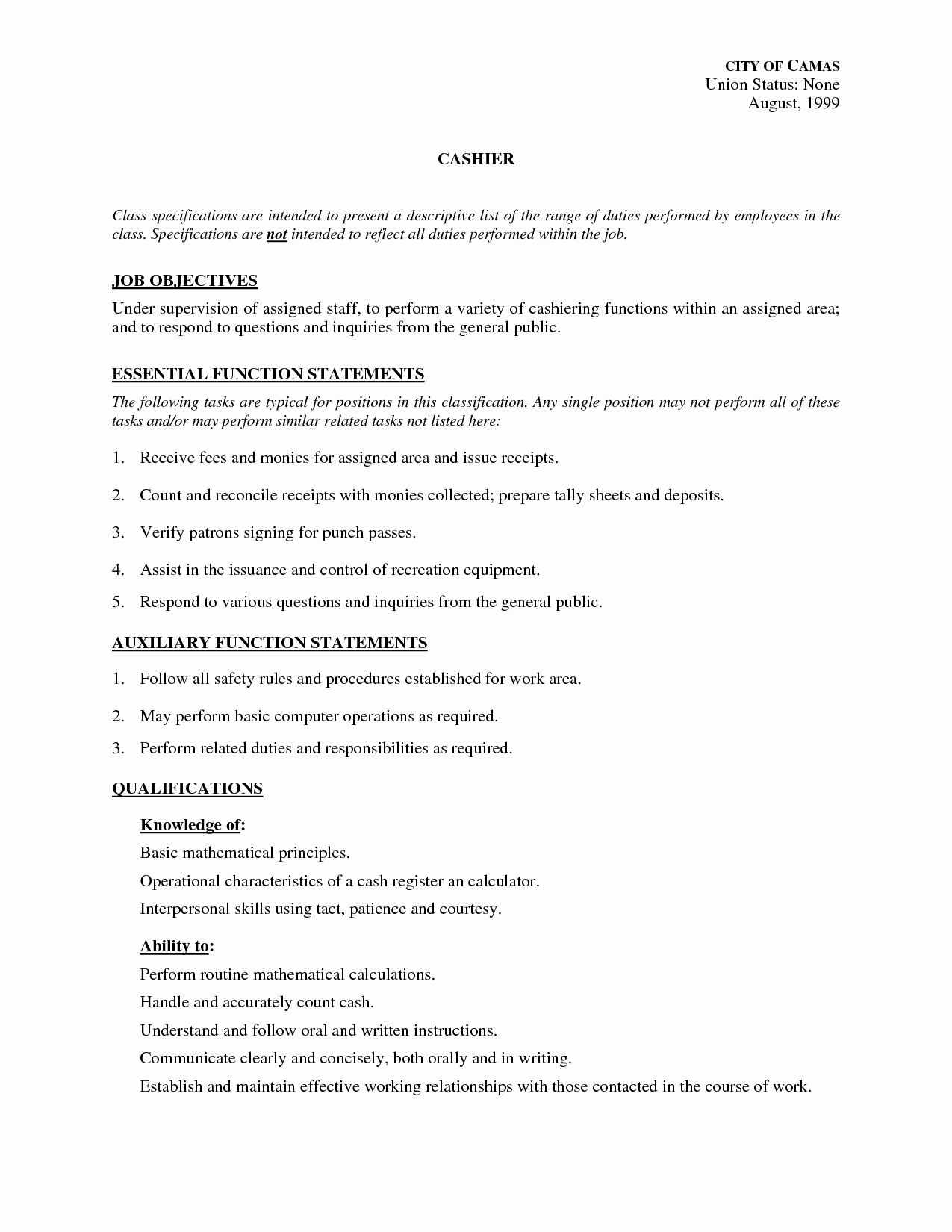 Cashier Job Description for Resume Outathyme