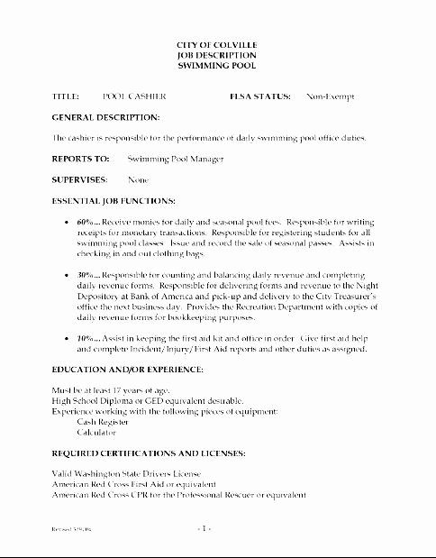 Cashier Job Description Resume Free Samples Examples