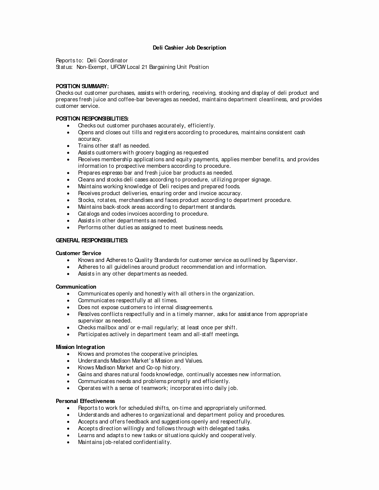 Cashier Responsibilities for Resume Samplebusinessresume