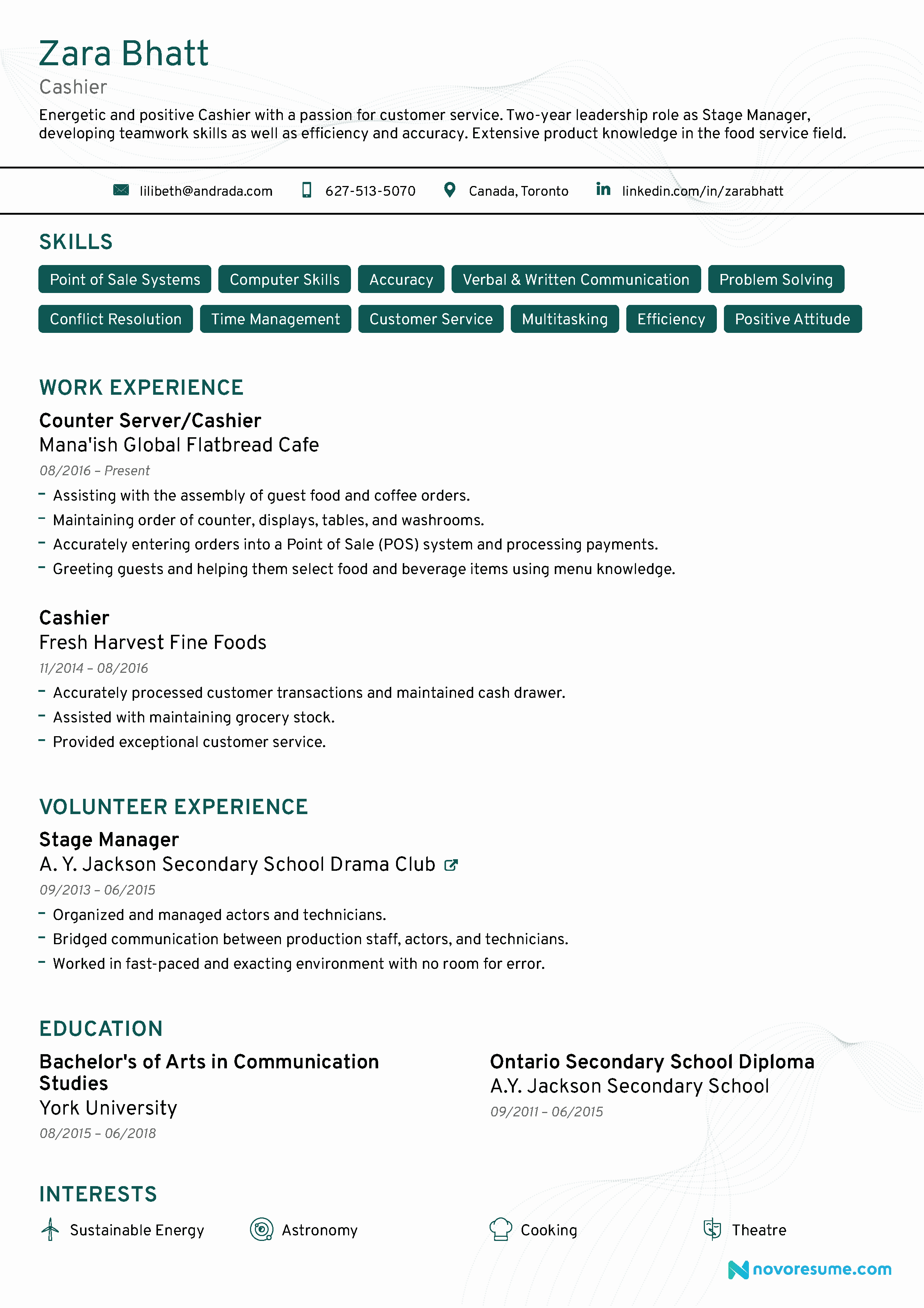 Cashier Resume [2019] Guide & Examples