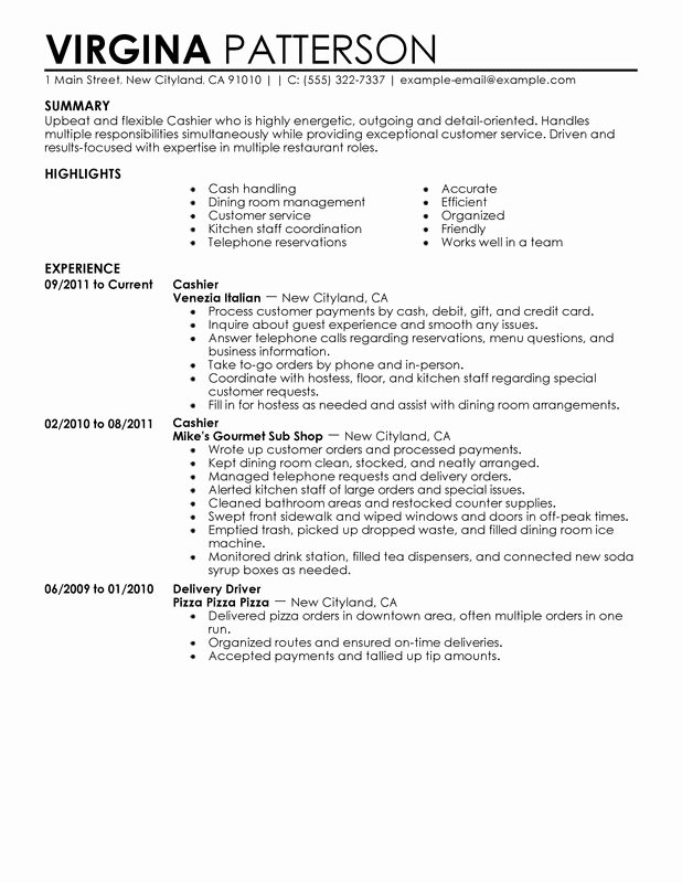 Cashier Resume Examples – Free to Try today
