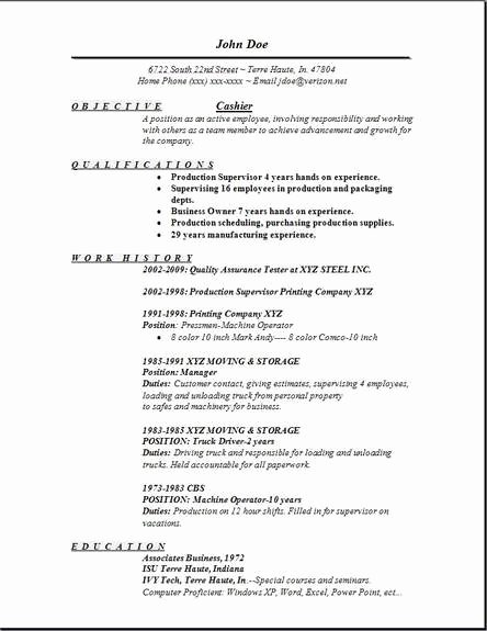 Cashier Resume Occupational Examples Samples Free Edit