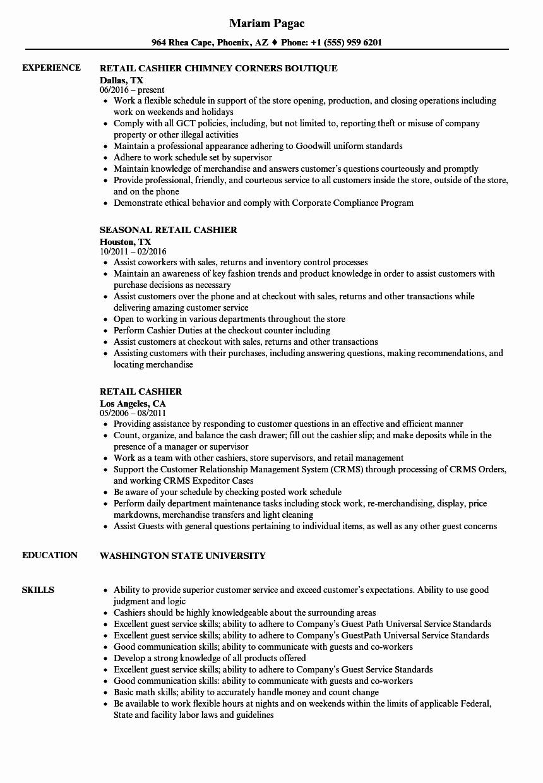 Cashier Resume Responsibilities Talktomartyb