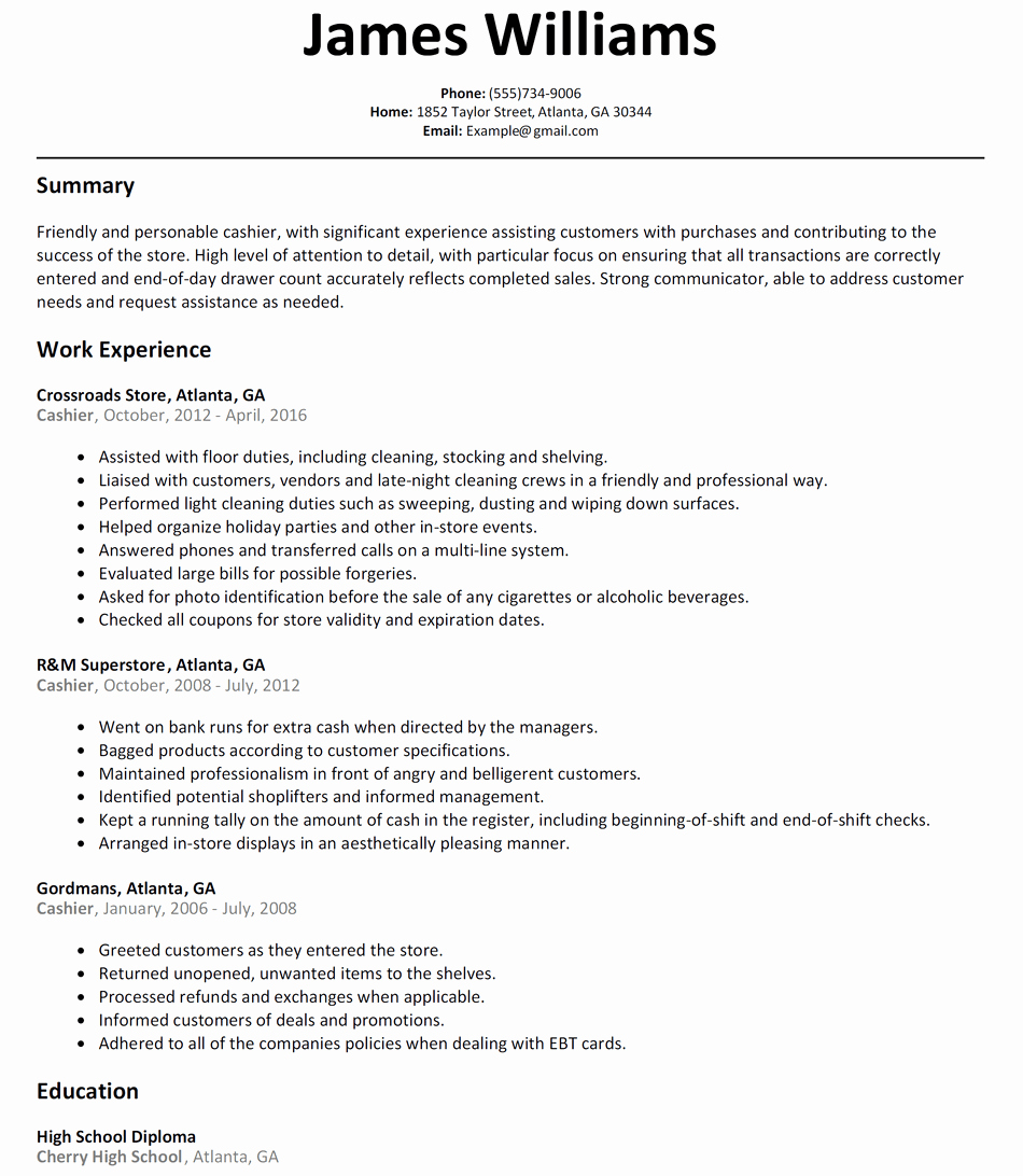 Cashier Resume Sample Resumelift