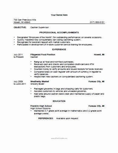 Cashier Resume Template Free Printable