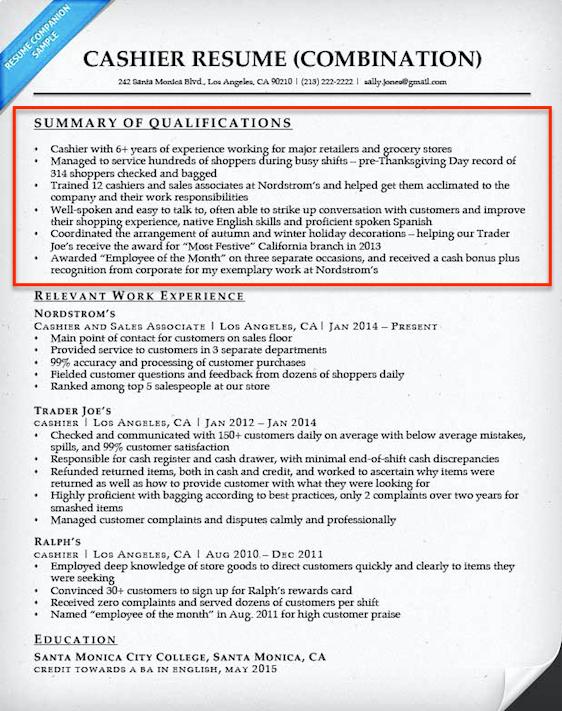 Cashier Summary Qualifications Summary for Resume
