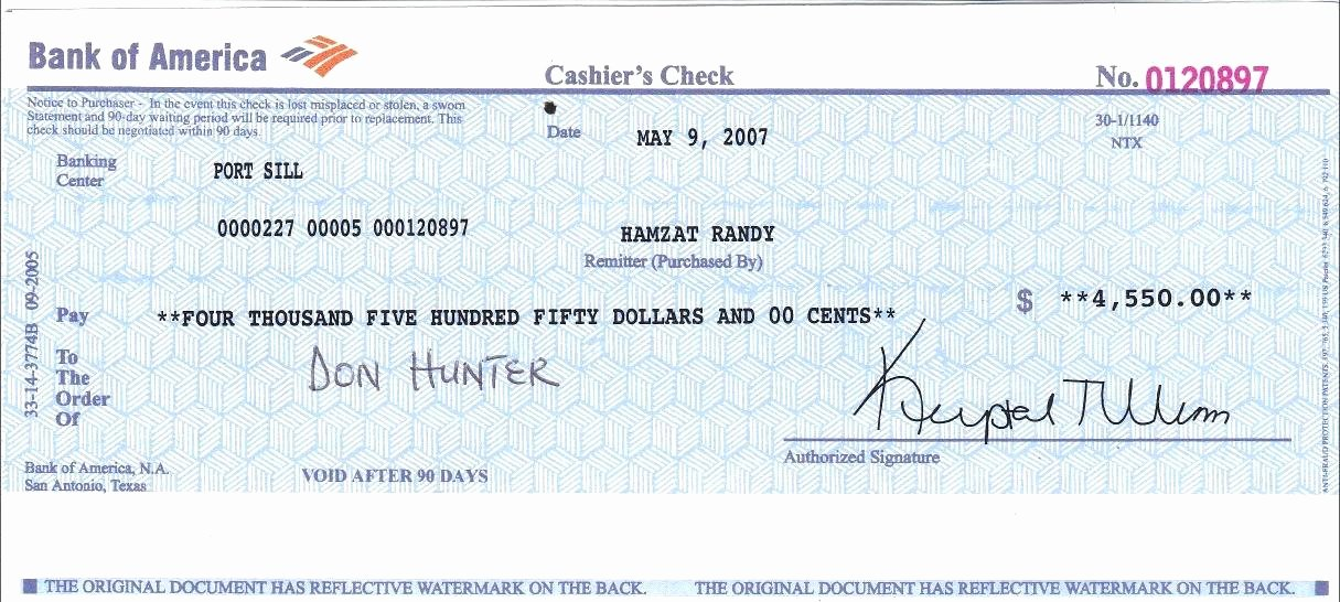 Cashiers Check Template Business Blank Fake In Example