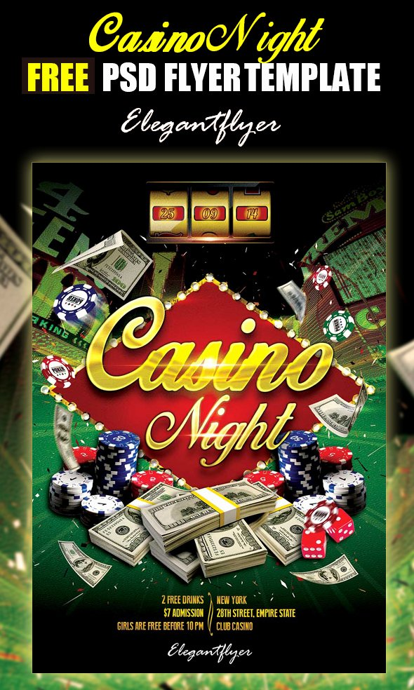 Casino Night Free Psd Club Flyer Template by Webstroy