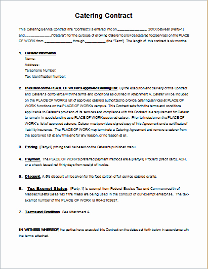 Catering Contract Template for Ms Word