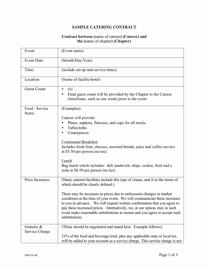 Catering Contract Template Free Documents for
