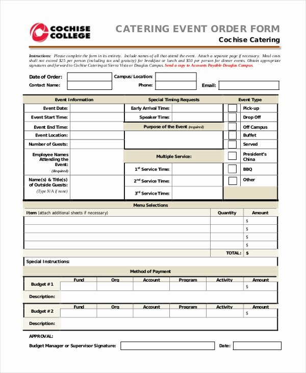 Catering event form Template to Pin On Pinterest