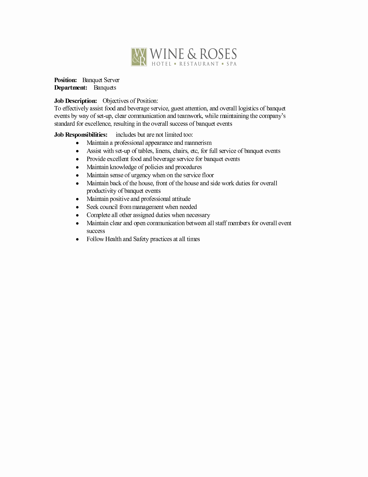 Catering Job Description for Resume Resume Ideas