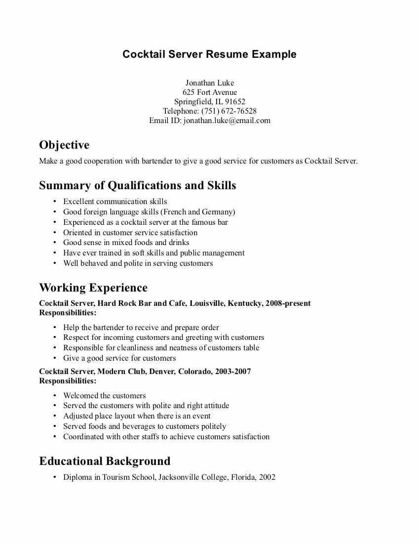 Catering Server Resume Job Description for Servers
