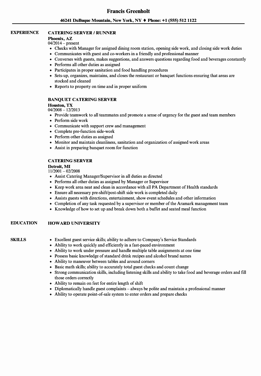 catering server resume sample