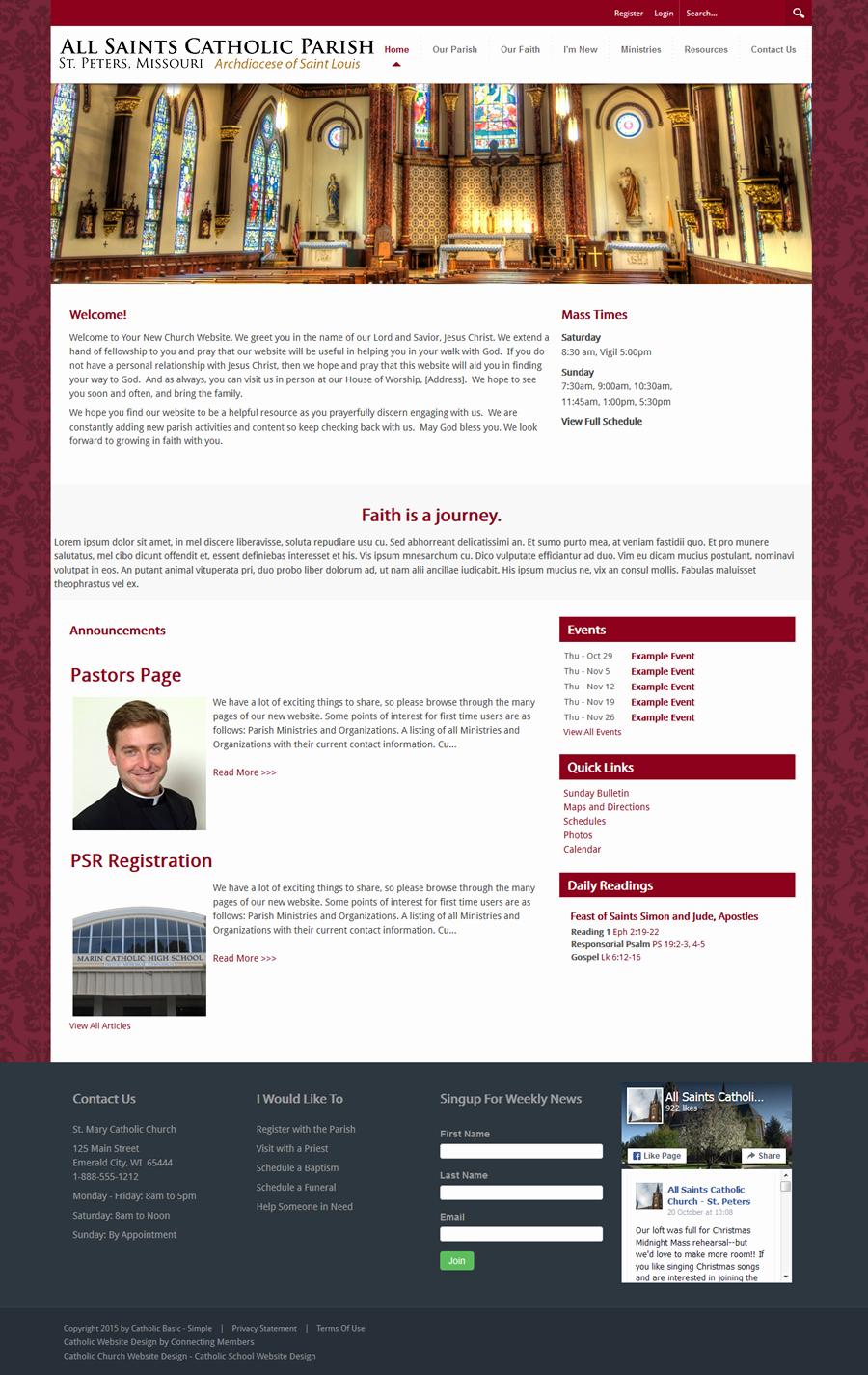 Catholic Church Website Template Simple