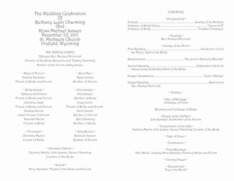 Catholic Wedding Program Template 1