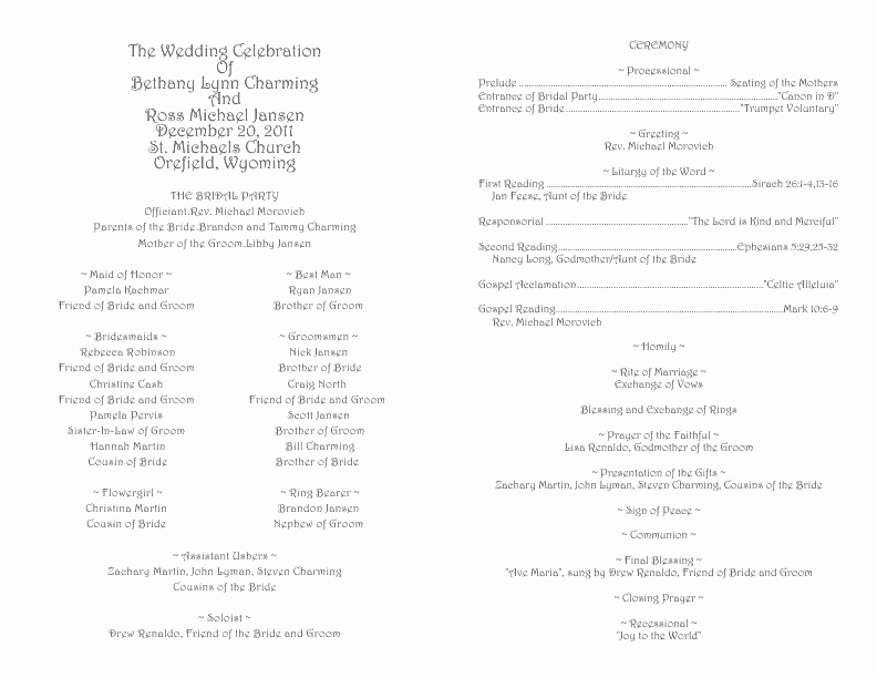 Catholic Wedding Program Template 1
