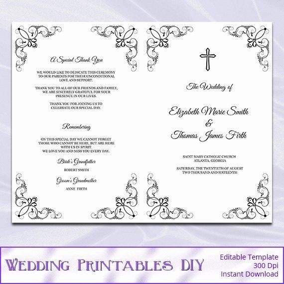 Catholic Wedding Program Template Diy Black White Cross