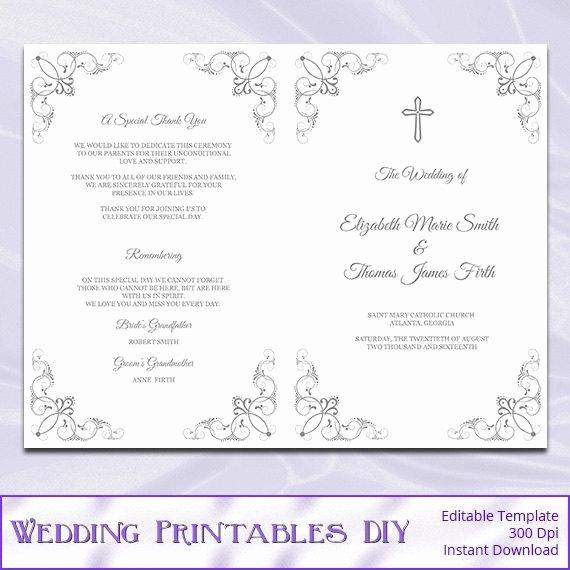 Catholic Wedding Program Template Diy Silver Gray Cross