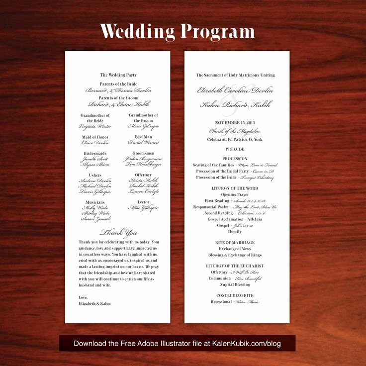 Catholic Wedding Program Template Free Beepmunk