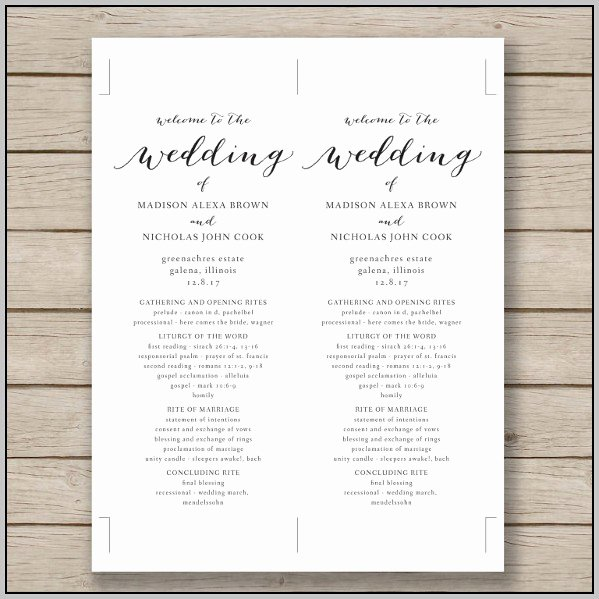 Catholic Wedding Program Template Free Template Resume