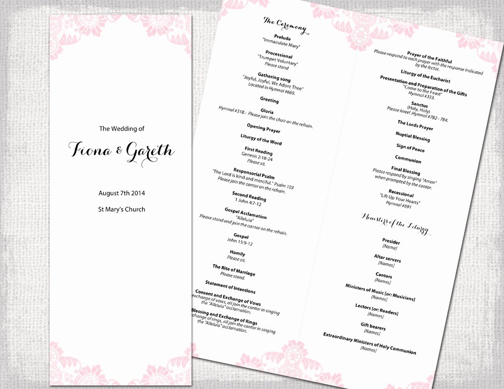 Catholic Wedding Program Template Powder Pink Antique
