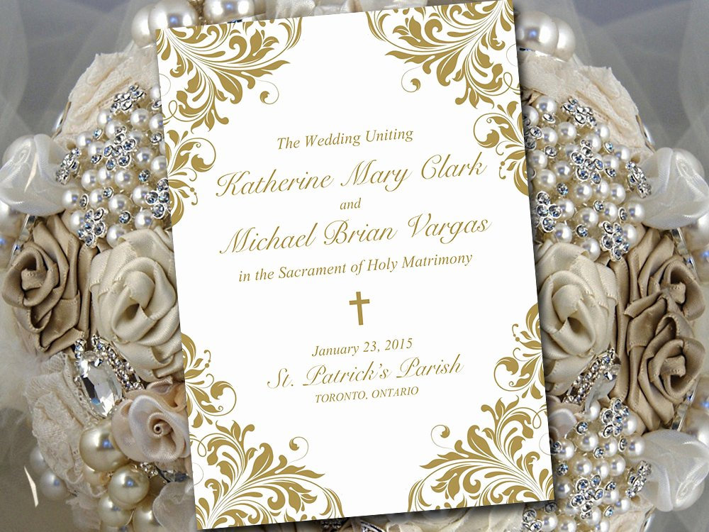 Catholic Wedding Program Template Printable Fold Over