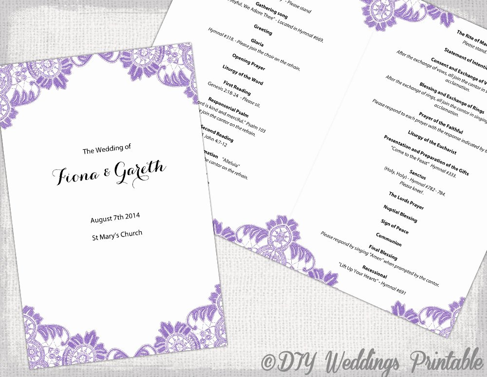 Catholic Wedding Program Template Wisteria Lavender
