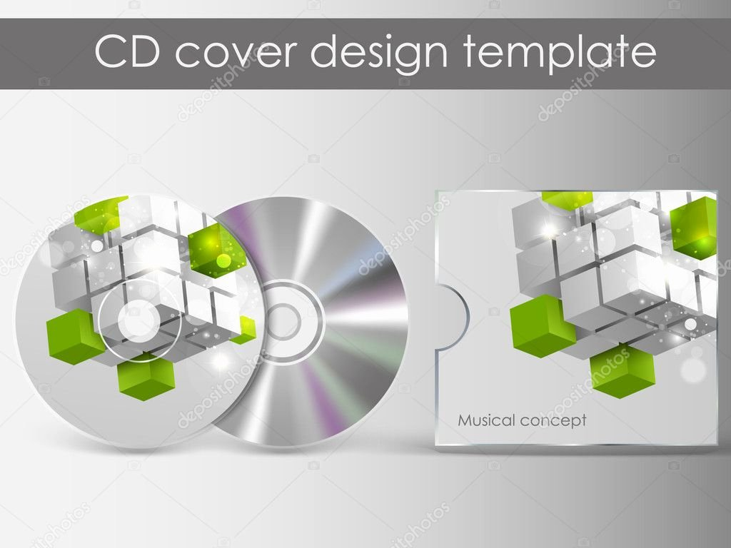 stock illustration cd cover design with 3d