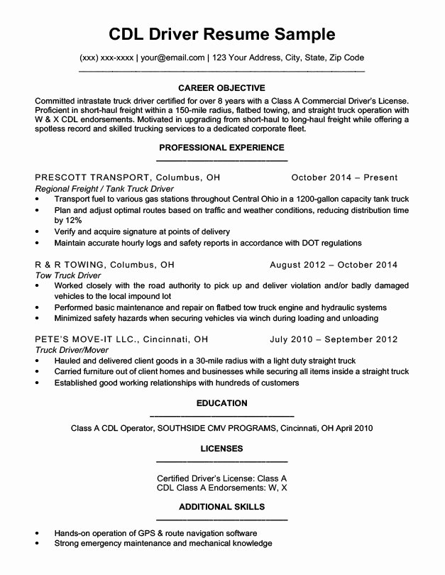Cdl Driver Resume Sample & Writing Tips
