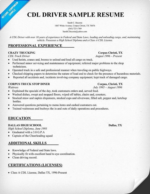 Cdl Driver Resume Sample Resume Panion