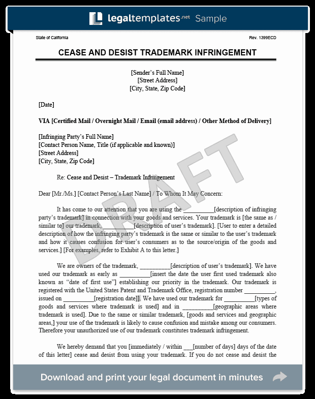 Cease and Desist Letter C&d