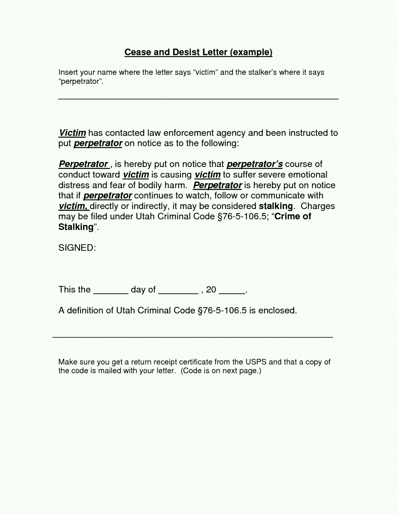 Cease and Desist Letter order Template