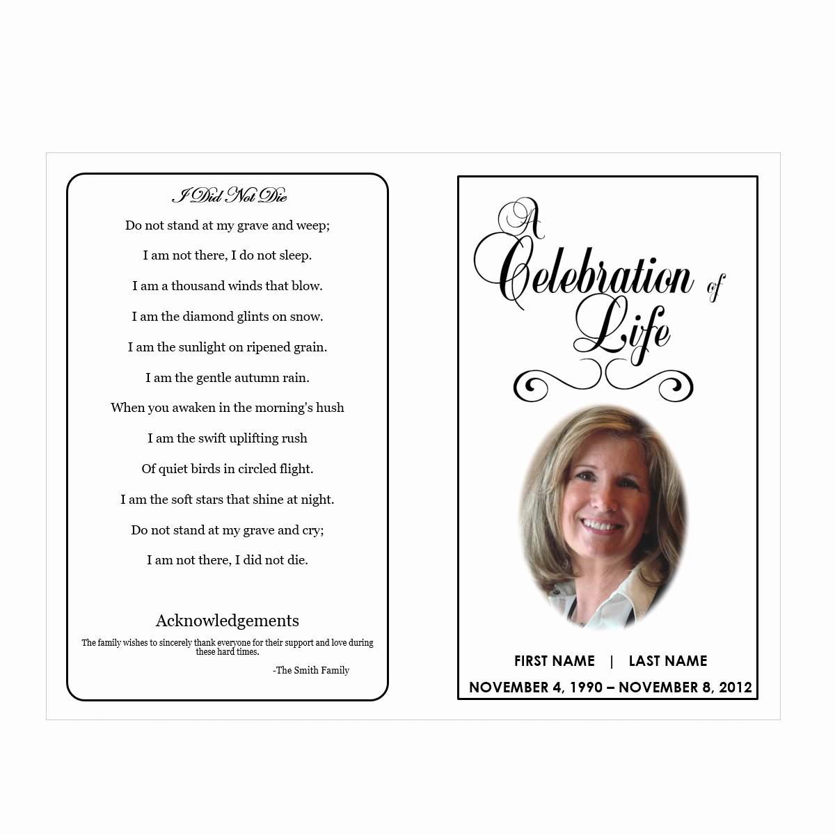 Celebration Of Life Funeral Pamphlets