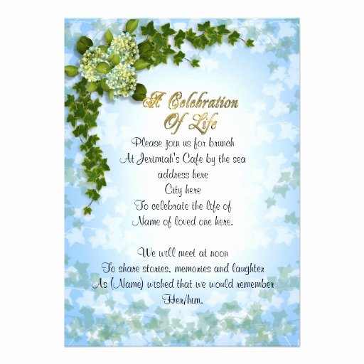 Celebration Of Life Invitation Ivy and Flowers 13 Cm X 18