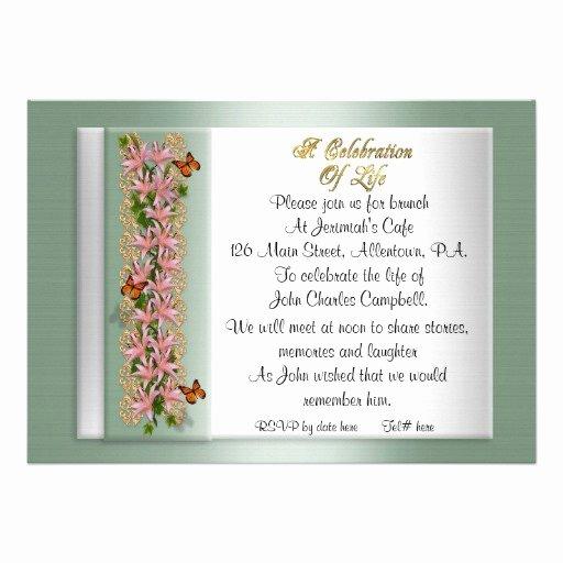 "Celebration Of Life Invitation Lilies 5"" X 7"" Invitation"
