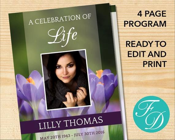 Celebration Of Life Printable Funeral Program Template