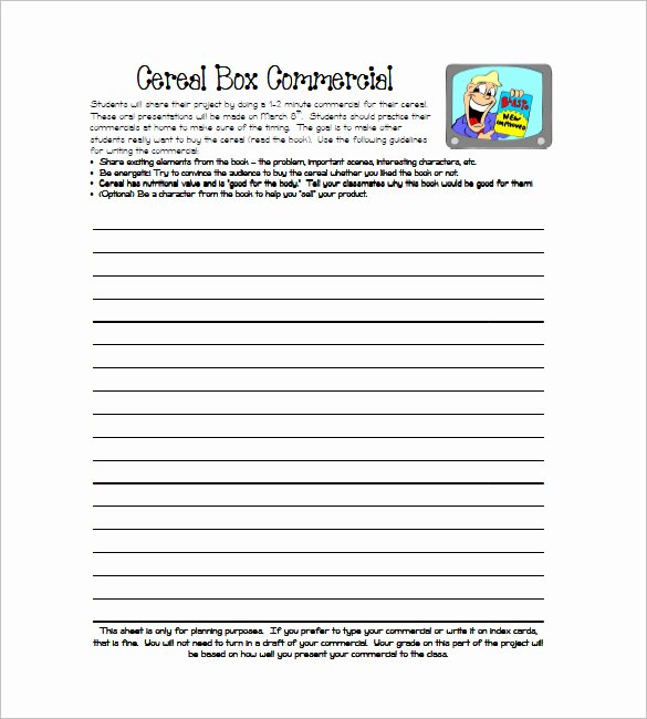 Cereal Box Template 10 Free Sample Example format