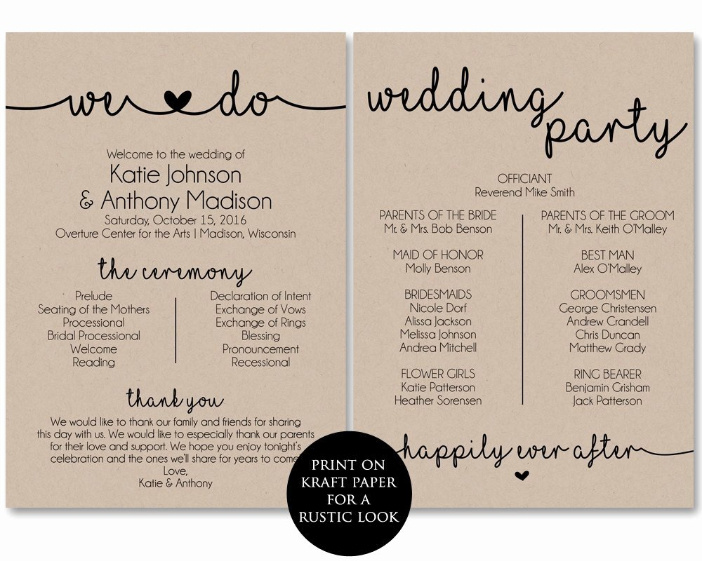 ceremony program template printable