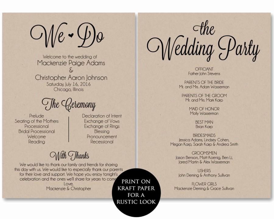 Ceremony Program Template Wedding Program Printable We