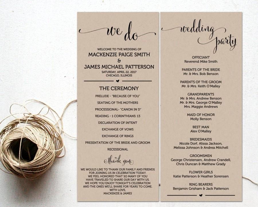 Ceremony Programs Wedding Program Template Ceremony