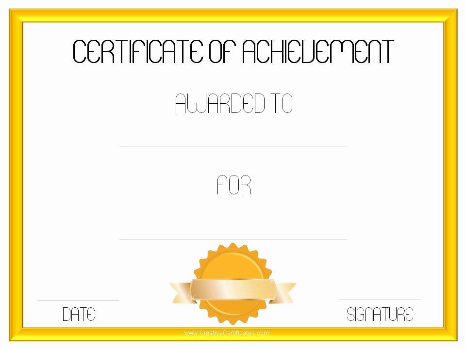 Certificate Achievement Template