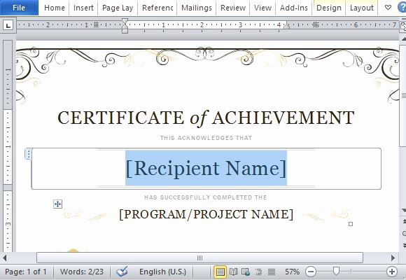 Certificate Achievement Template for Word 2013