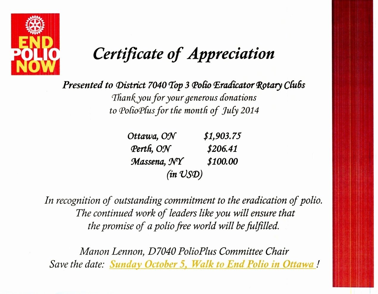 Certificate Appreciation Rotary