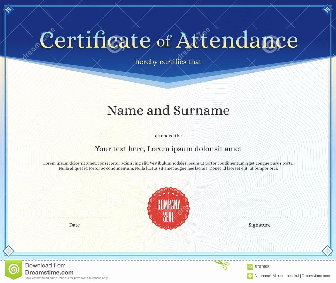 Certificate attendance Template In Vector Stock Vector