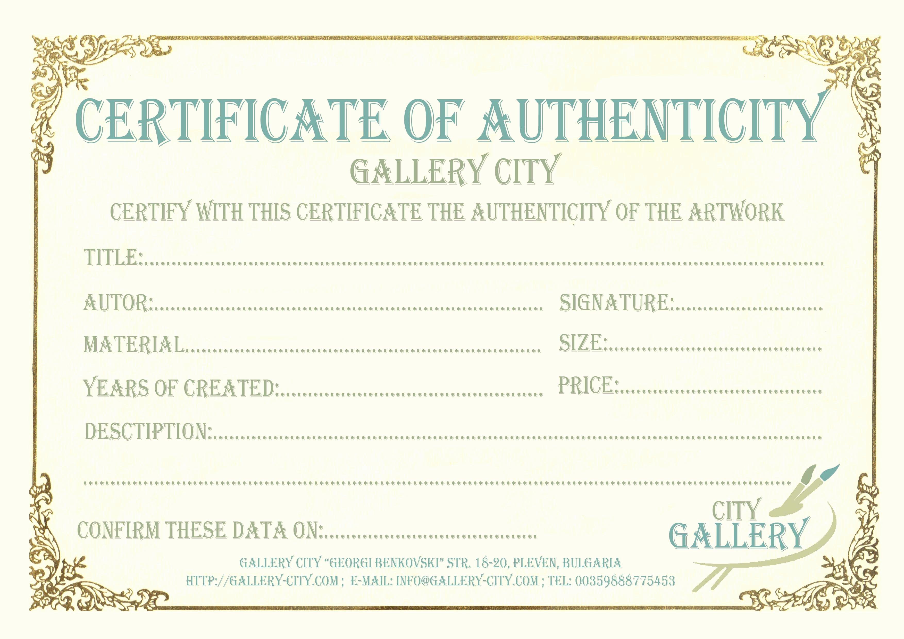 Certificate Authenticity Template