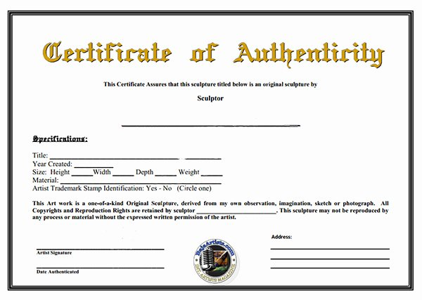 Certificate Authenticity Template